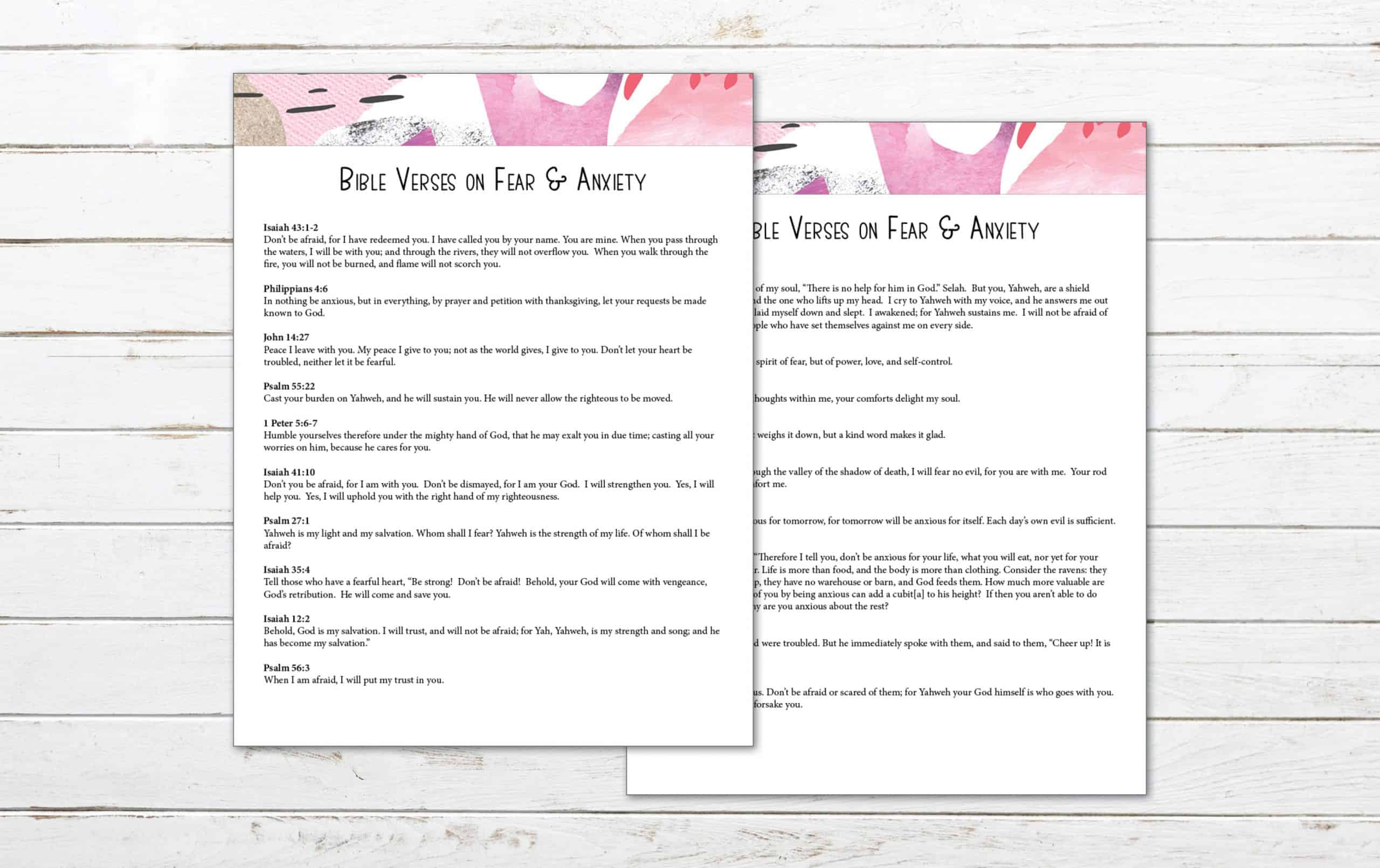 19 Bible Verses On Fear And Anxiety Printable