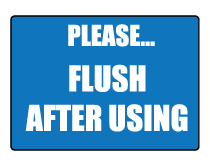 flush toilet after each use sign thumb