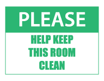 help keep this room clean sign green thumb