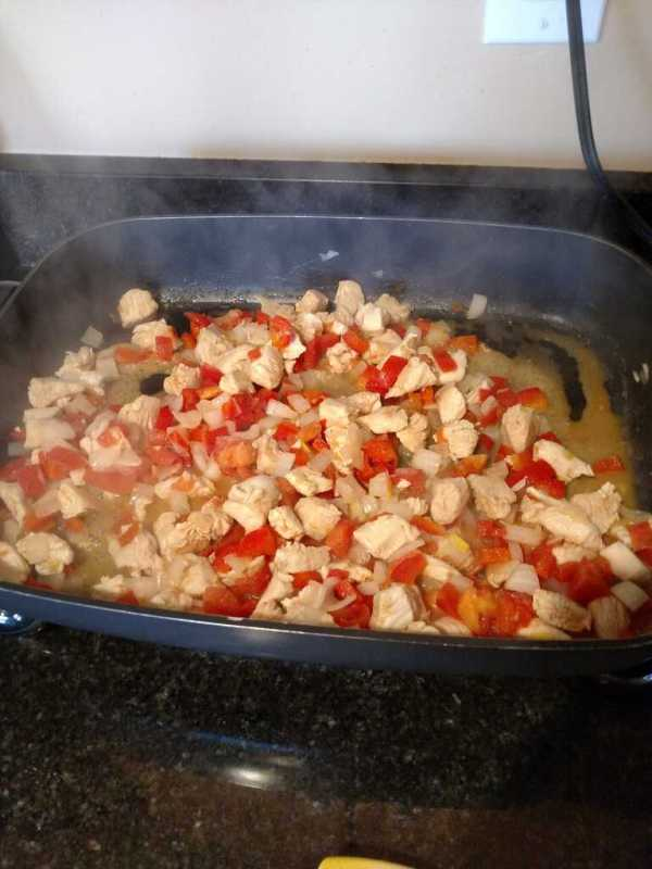 cooking chicken and vegetables