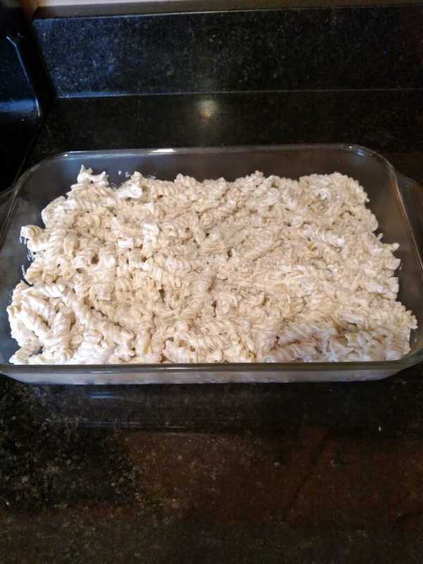 pasta and cheese in baking dish