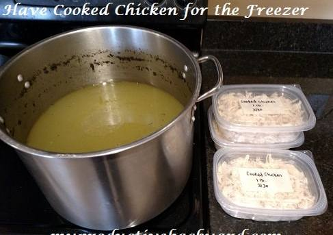 make chicken broth and have cooked chicken