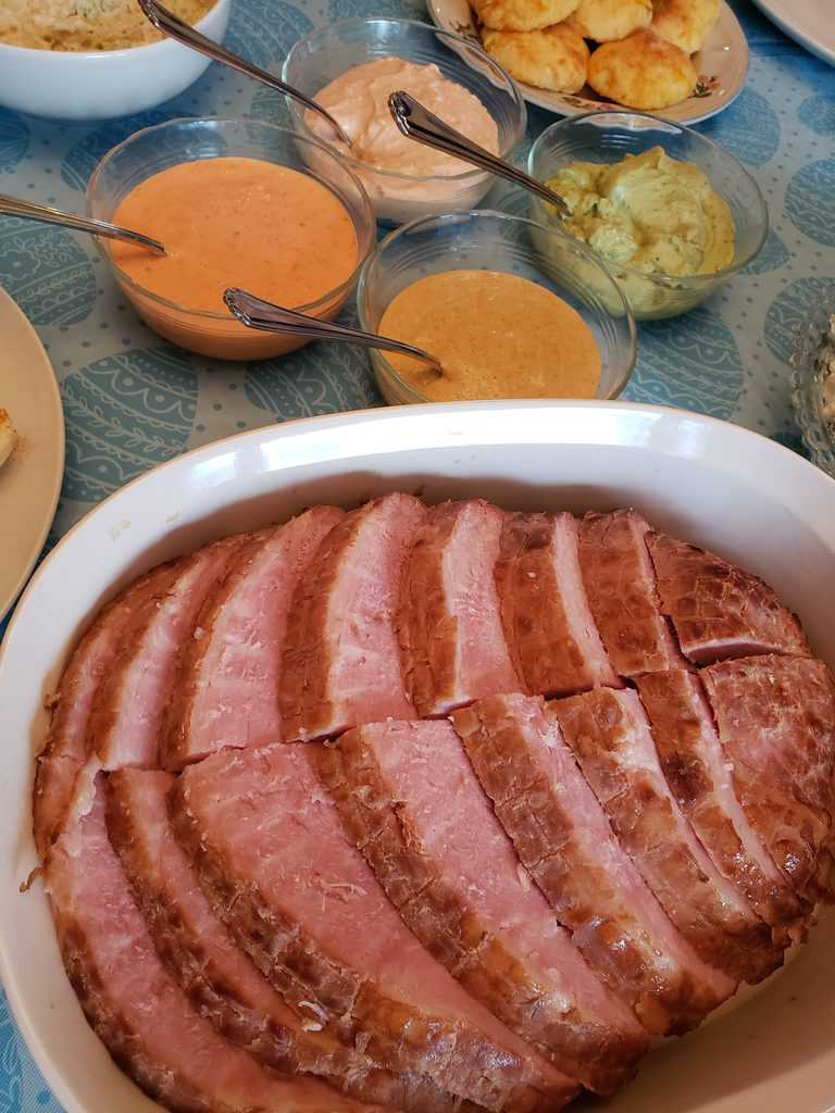 Simple Keto Ham with Fancy Dipping Sauces