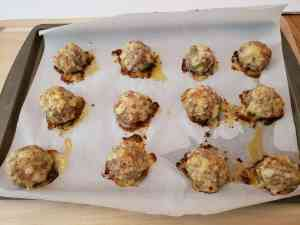 Keto Sausage Pizza Bites on baking pan
