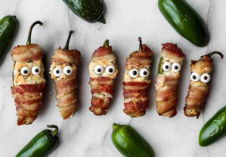 bacon wrapped jalapeno popper mummies