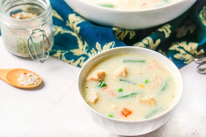 Low Carb Creamy Turkey Soup with Vegetables using Leftover Turkey!