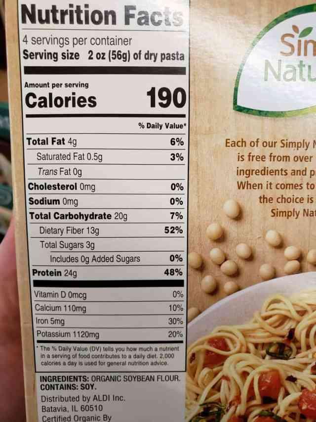 Simply Nature Organic Bean Pasta label