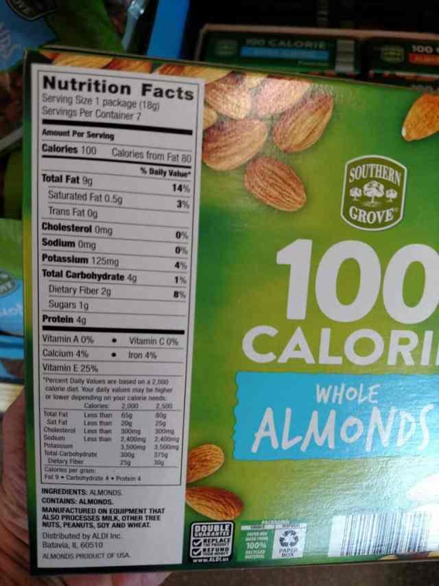 100 Calorie Nut Packs label