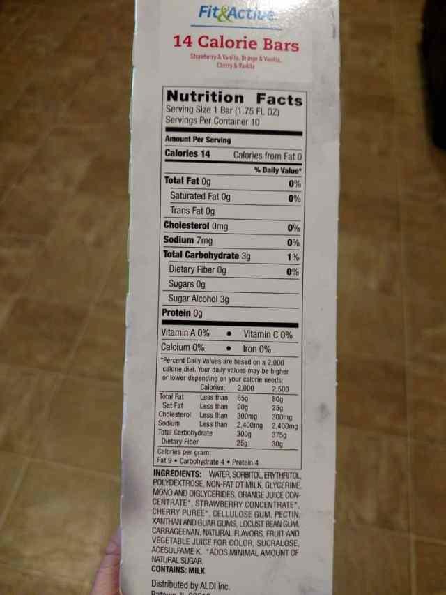 14 Calorie Bars label