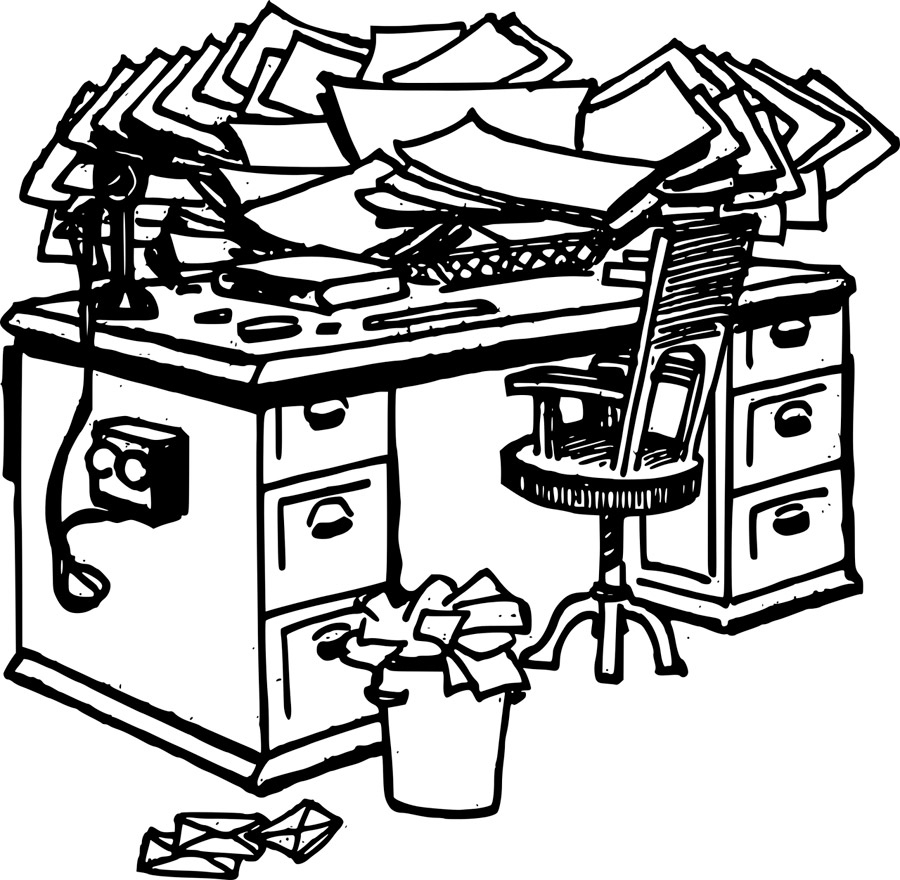 cluttered desk illustration
