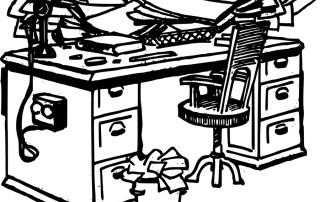 cluttered desk illustration
