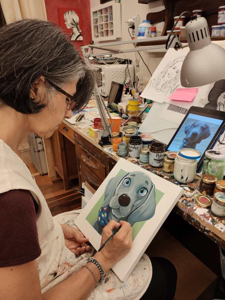 letizia sacchi decoreria milano caricatura cane animali cartone animato cartoon idea regalo disegno stampa o dipinta acrilico su tela