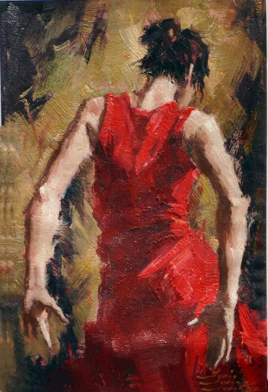 Back profile of a spanish lady wearing red dress
