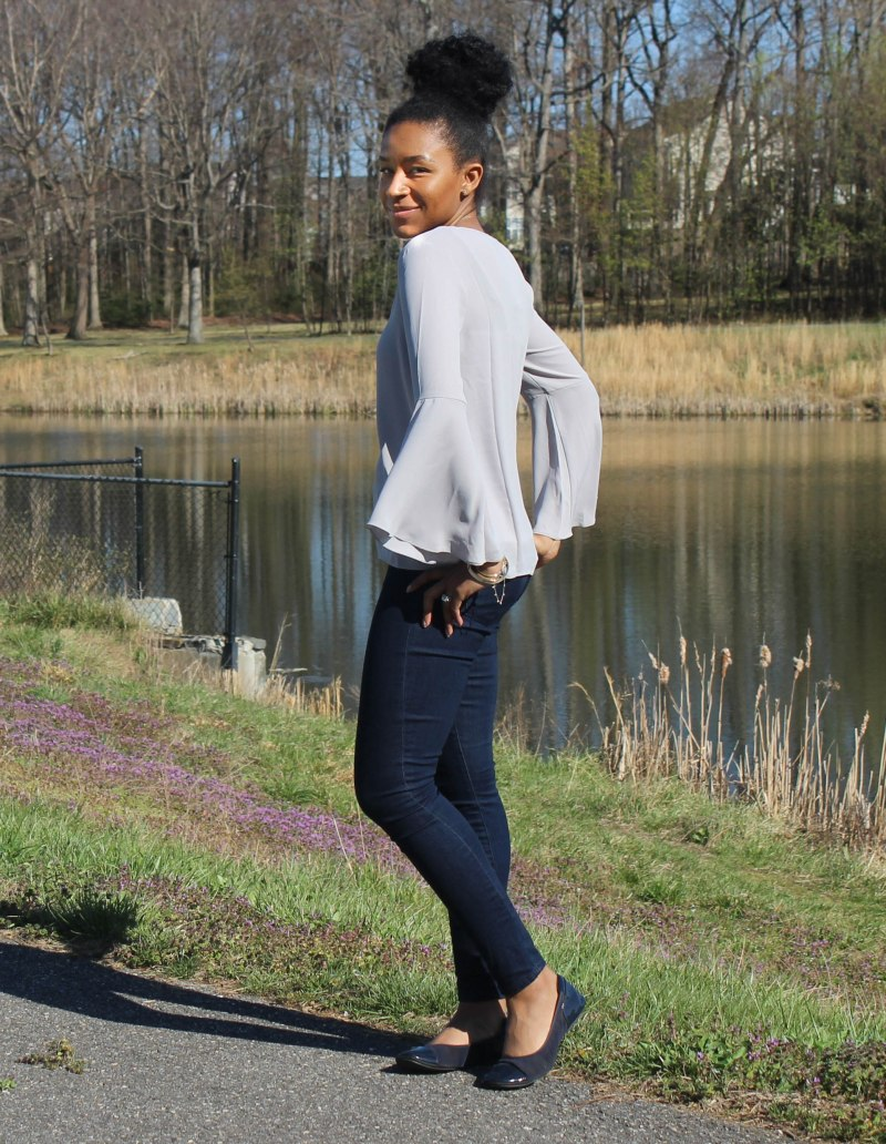 Gray Flutter Sleeve and Jeans-4