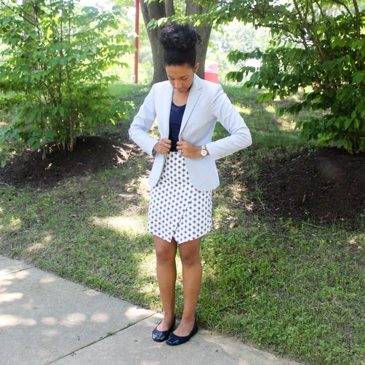 Ann Taylor Loft Skirt and Navy Top-2