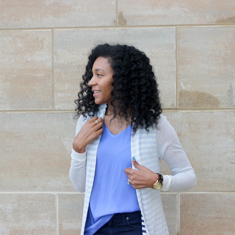 Long Cardi with a Blue Tank-2-13