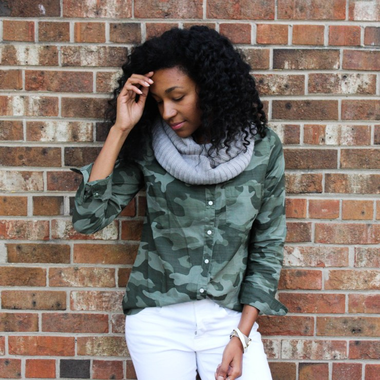 Army Shirt with White Pants-4401