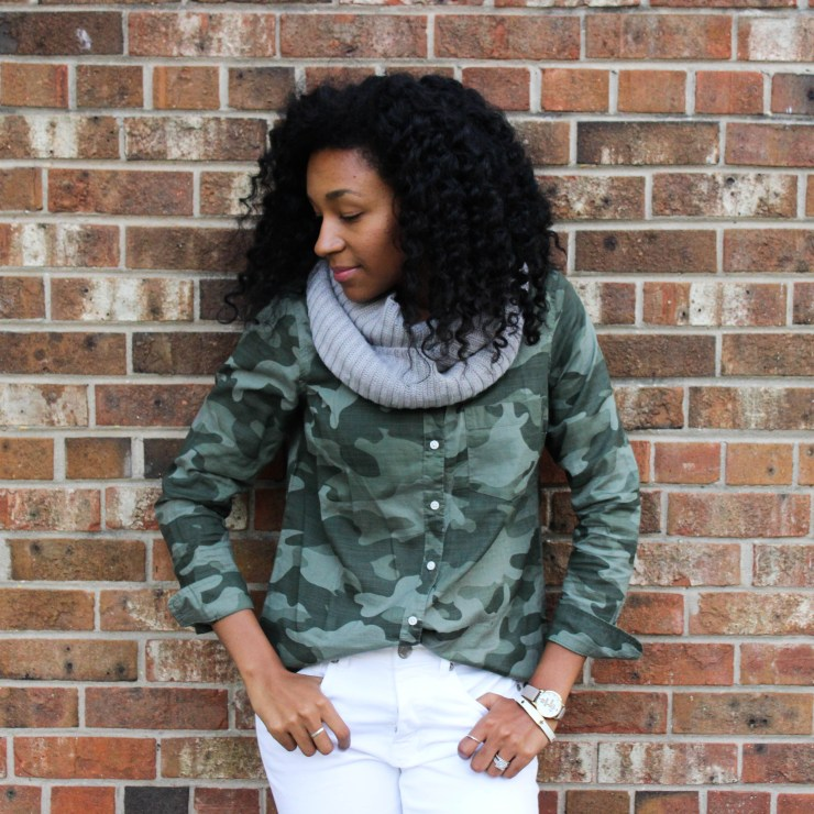 Army Shirt with White Pants-4413