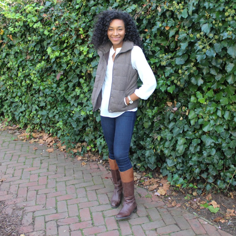 Brown Puffer Vest with Riding Boots-3307