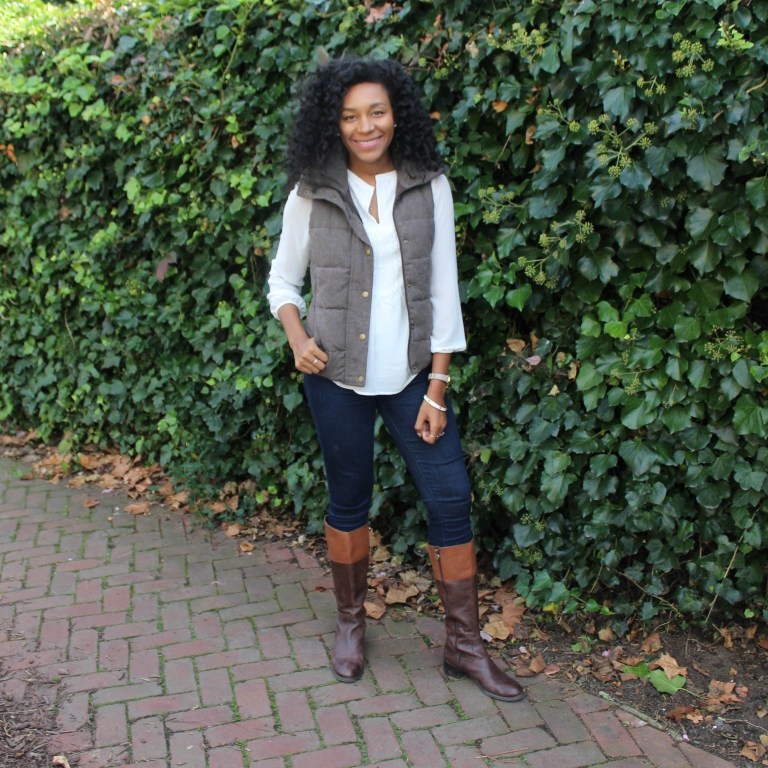 Brown Puffer Vest with Riding Boots-3325