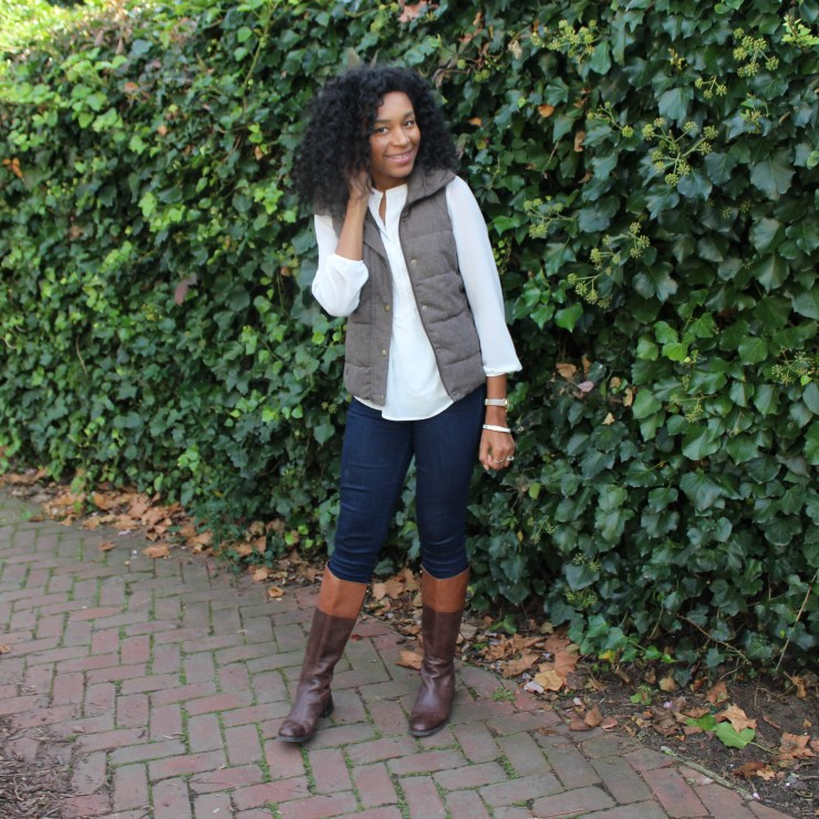 Brown Puffer Vest with Riding Boots-3350