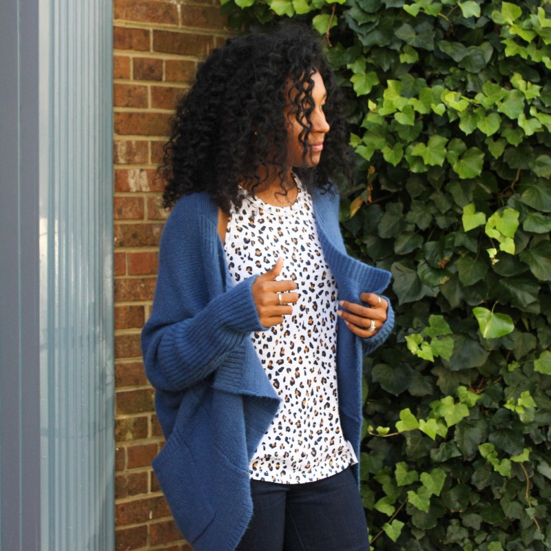 Blue Leopard top with Sweater-3649