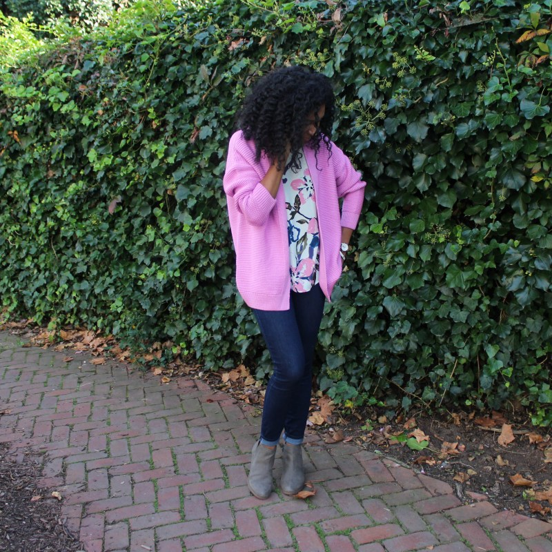 Floral Tank with Pink Sweater-3765