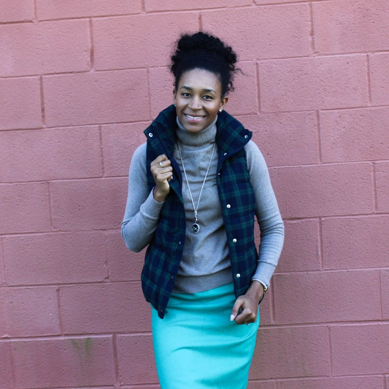 Old Navy Puffer Vest and J-Crew Wool Skirt-5661