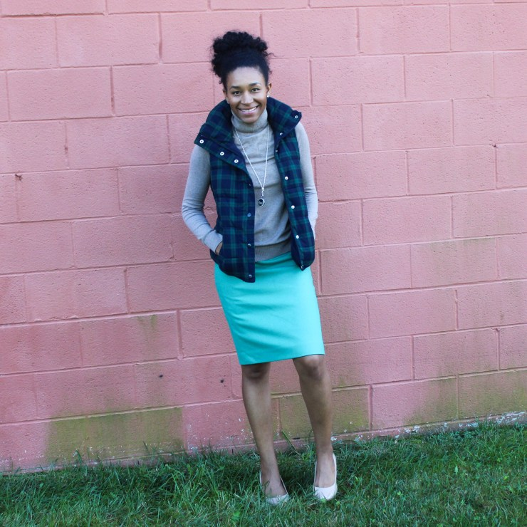 Old Navy Puffer Vest and J-Crew Wool Skirt-5733