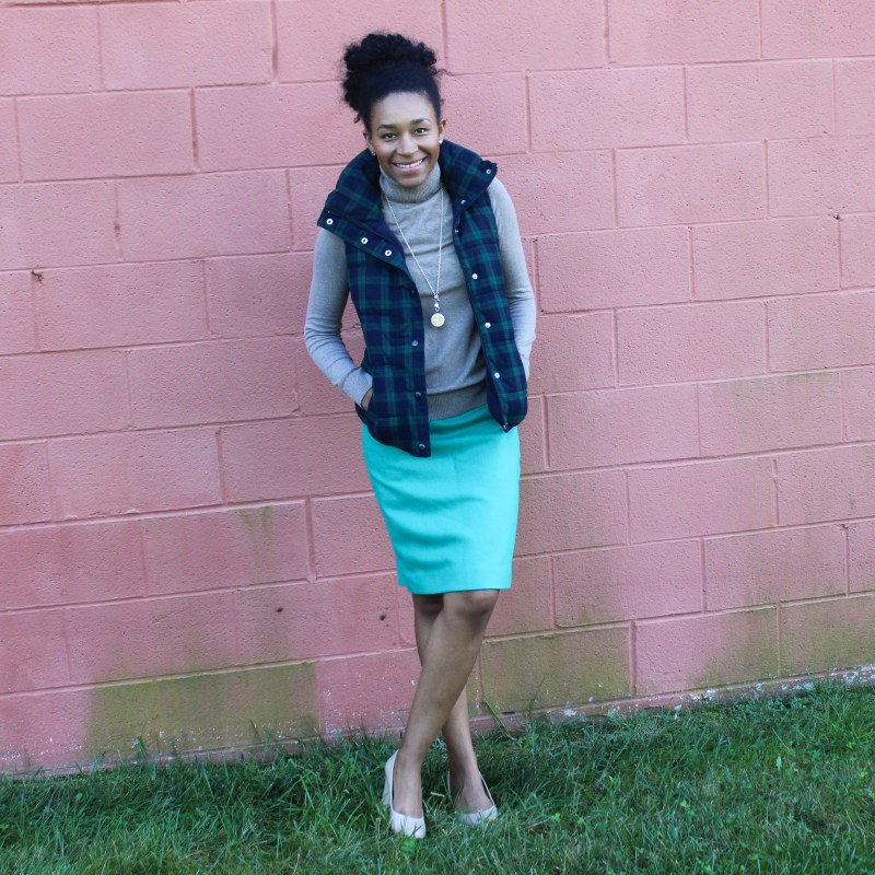 Old Navy Puffer Vest and J-Crew Wool Skirt-5734