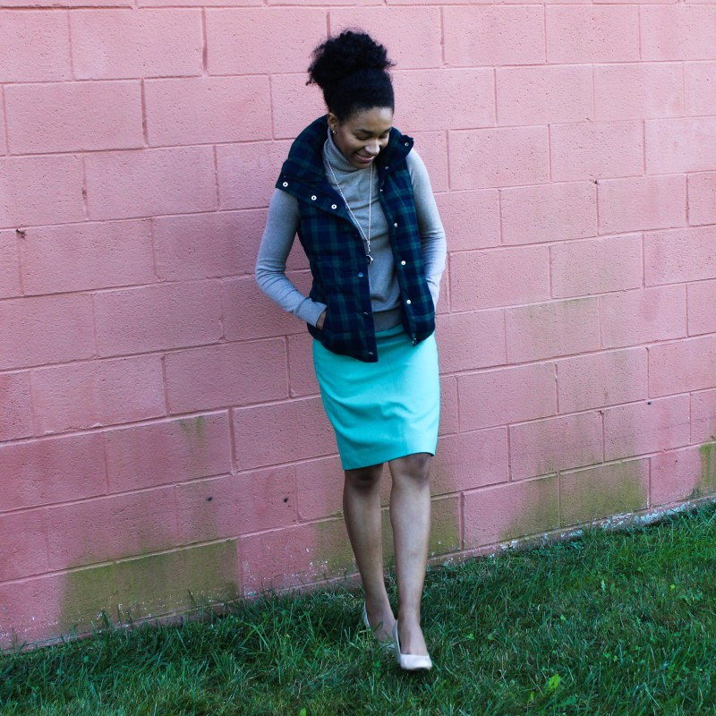Old Navy Puffer Vest and J-Crew Wool Skirt-5741
