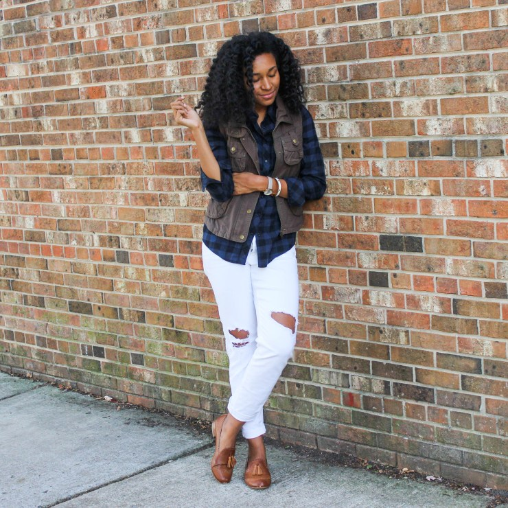 Plaid Shirt Utility Vest and White Jeans-4189