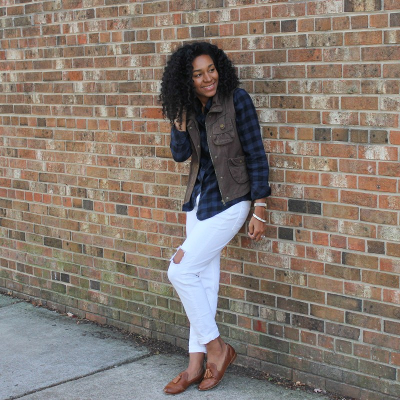 Plaid Shirt Utility Vest and White Jeans-4226
