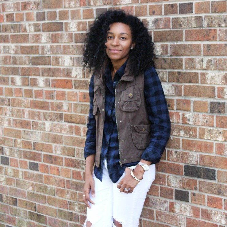 Plaid Shirt Utility Vest and White Jeans-4285