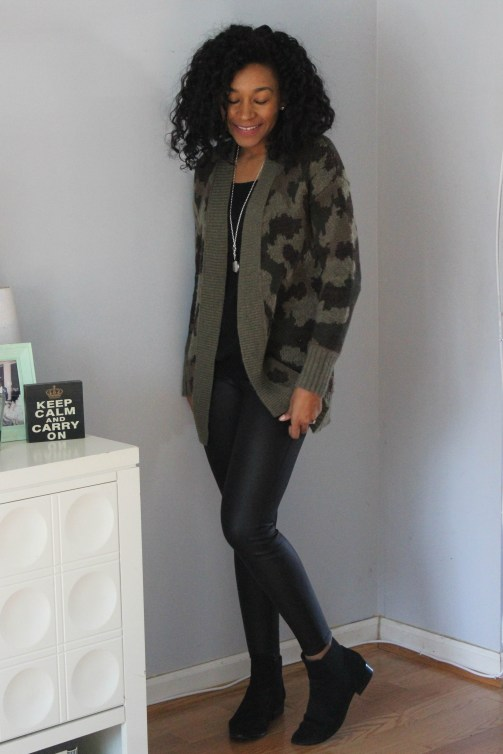 Army Cardigan with Faux Leather Leggings-6515