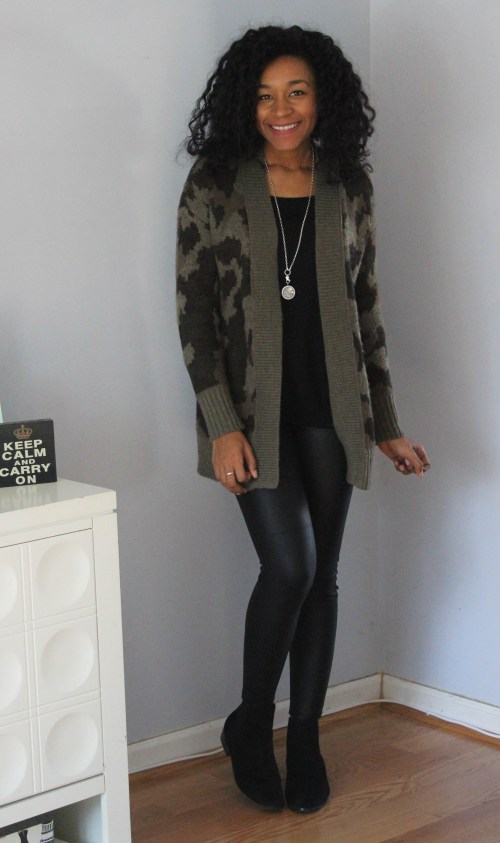 Army Cardigan with Faux Leather Leggings-6534