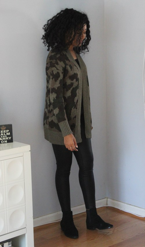 Army Cardigan with Faux Leather Leggings-6547