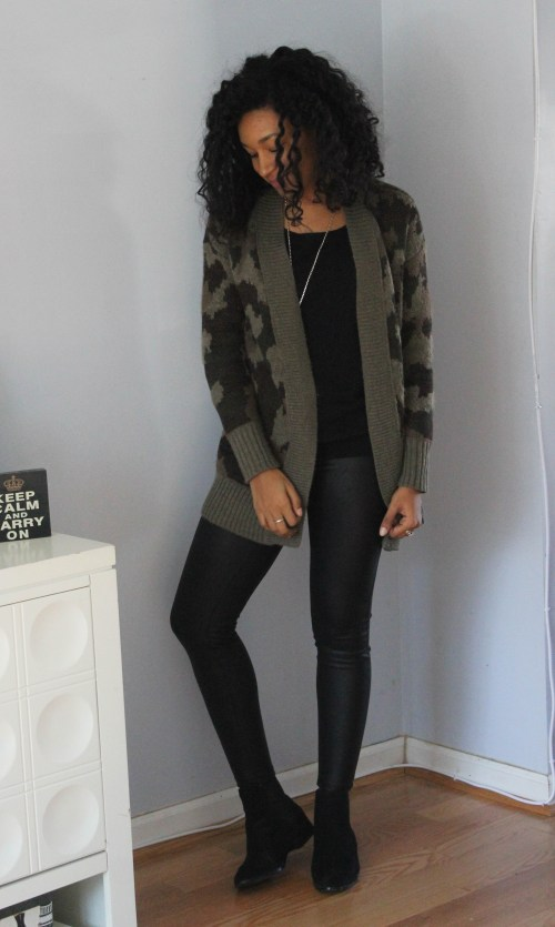 Army Cardigan with Faux Leather Leggings-6574