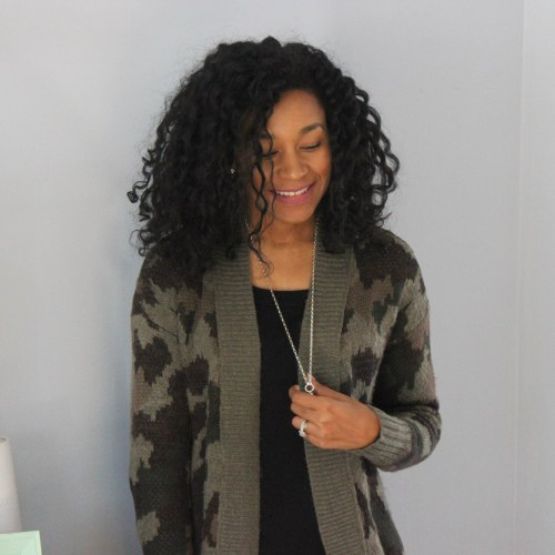 Army Cardigan with Faux Leather Leggings-6653