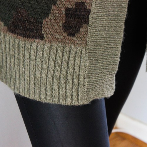 Army Cardigan with Faux Leather Leggings-6671