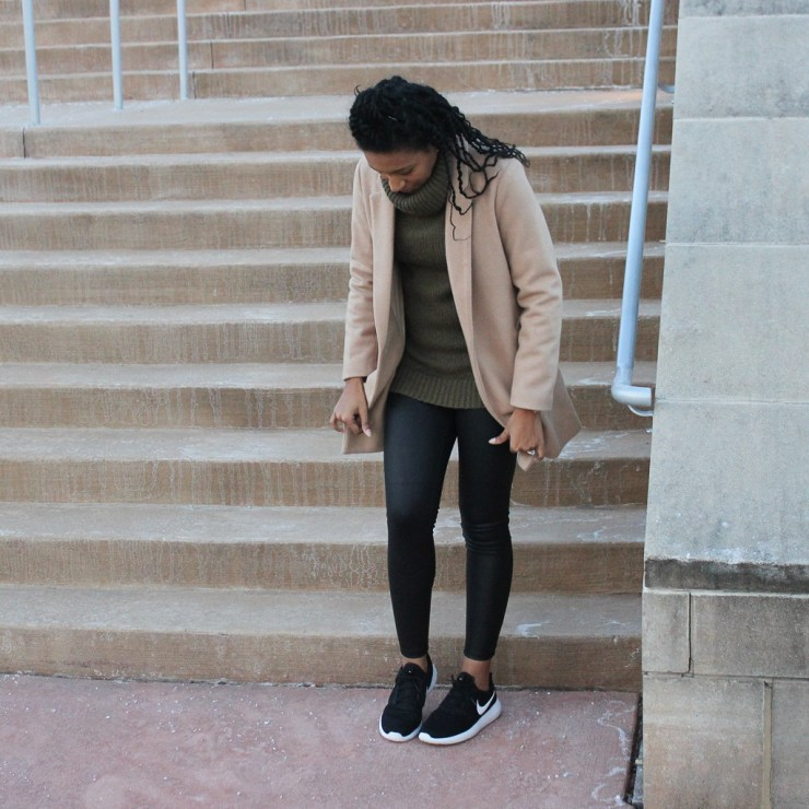 Green Turtleneck Leather Leggins Tan Coat1