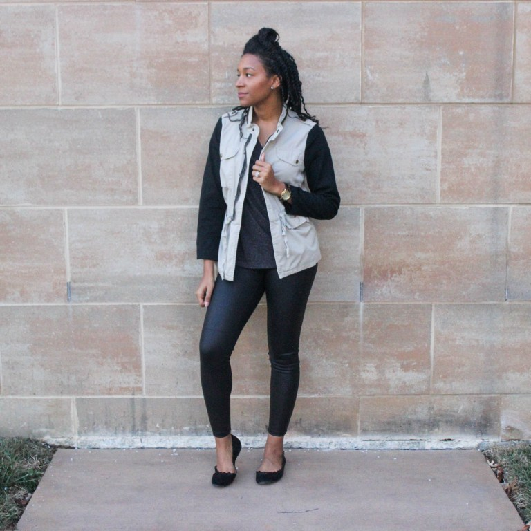 Faux leather leggins with utility jacket-9650