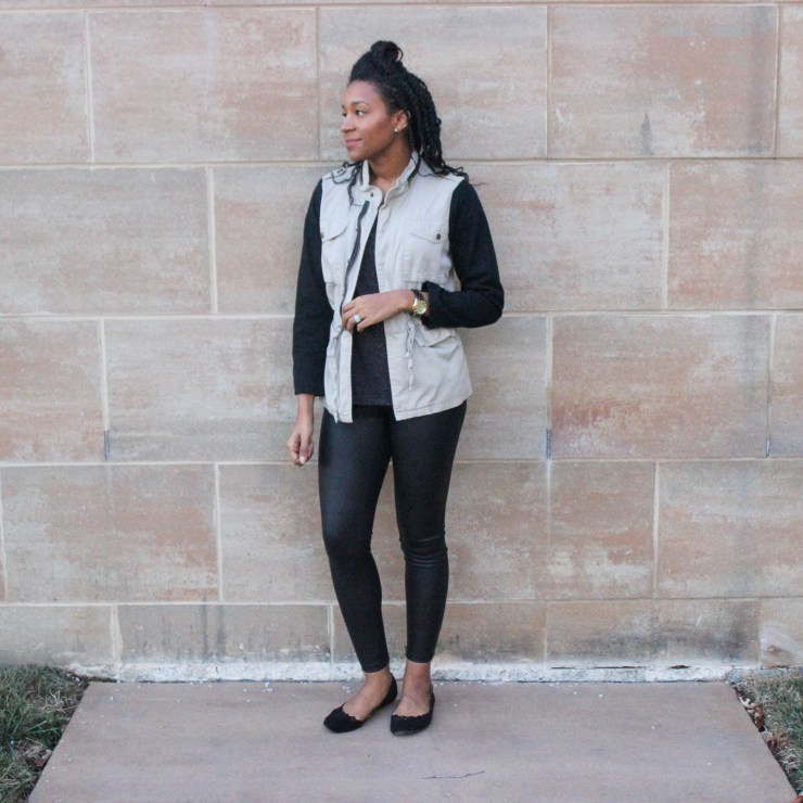 Faux leather leggins with utility jacket-9653