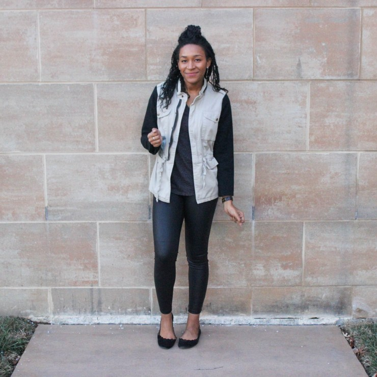 Faux leather leggins with utility jacket-9674