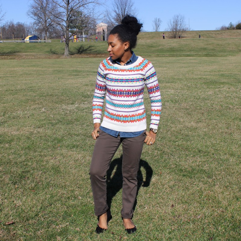 Fair Isle Sweater with Khaki Pants -6655