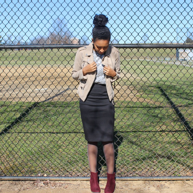 Sequins Tee with Black Skirt and Tan Jacket-2-2