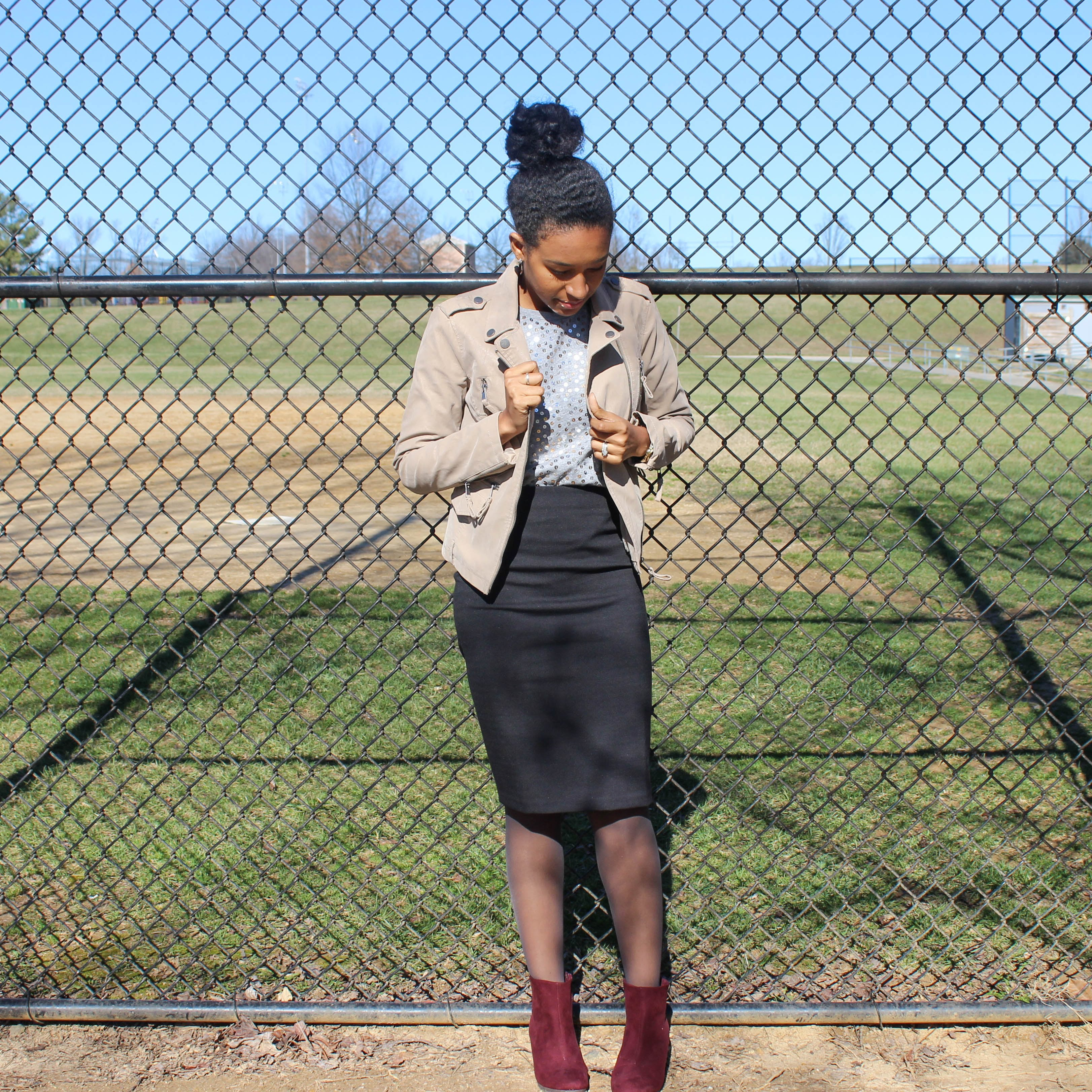 Sequins Tee with Black Skirt and Tan Jacket-2-5