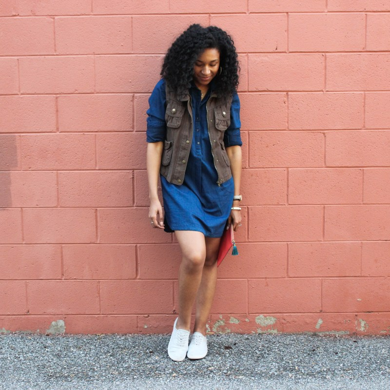 Denim Shirt Dress with Utility Vest-8734