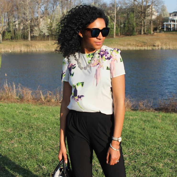 Floral French Connection Shirt and Black Trousers-8452