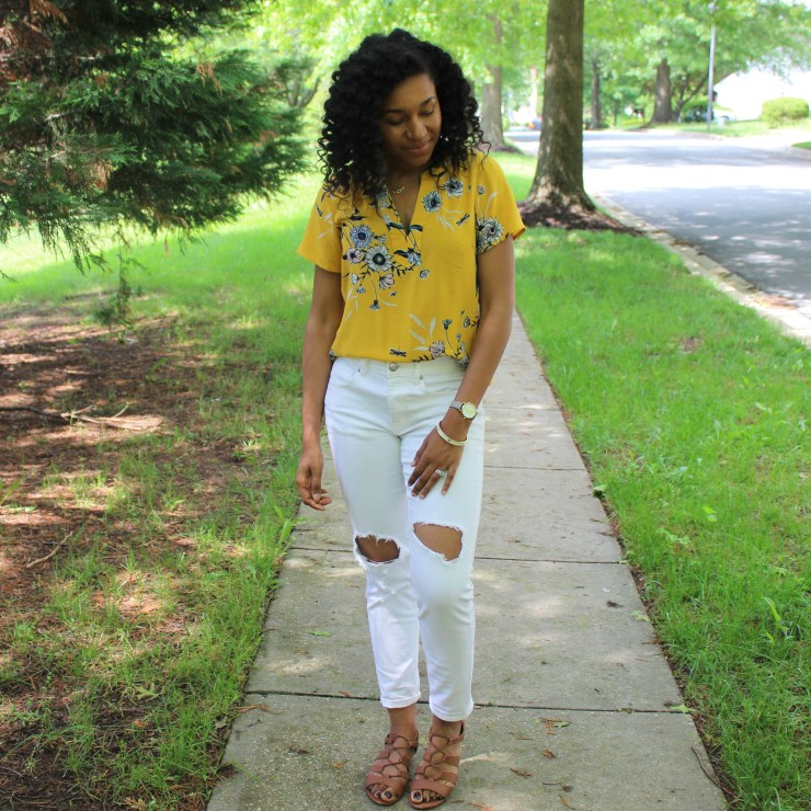 Old Navy Yellow Shirt with White AE Jeans-9981